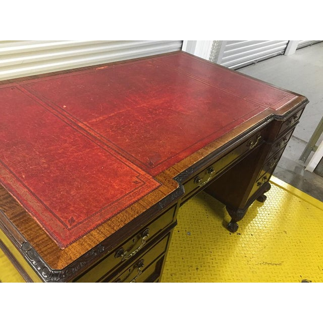 English Antique George III Leather Topped Desk For Sale - Image 11 of 11