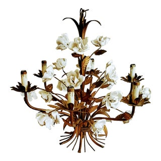Italian Mid-Century Hollywood Regency White Porcelain Rose and Gilt Tole Chandelier For Sale