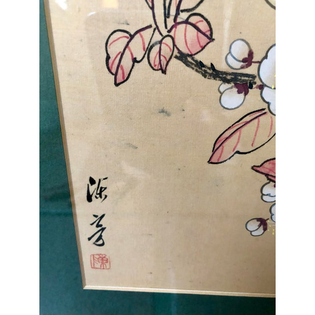 Paint 1940s Vintage Chinese Floral Watercolor Paintings - A Pair For Sale - Image 7 of 11