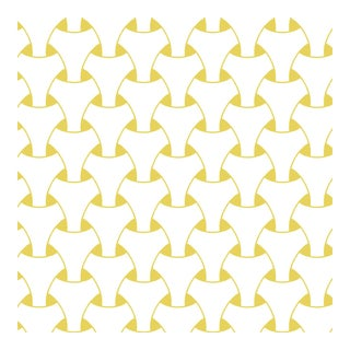 Island Weave Yellow Wallpaper Remnant by Mitchell Black For Sale