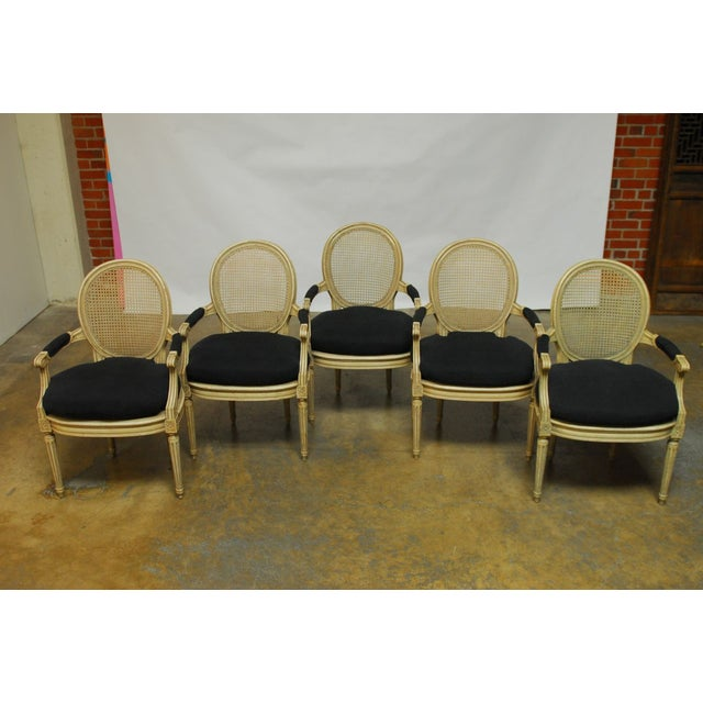 French Louis XVI Style Cane Fauteuil Armchairs - Set of 5 For Sale - Image 3 of 10