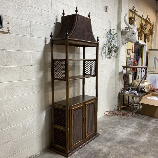 Boho Chic Walnut and Wicker Pagoda Etageres Cabinet For Sale - Image 3 of 13