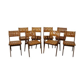 Jens Risom Solid Walnut & Woven Leather Dining Chairs- Set of 8 For Sale