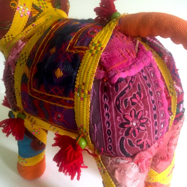 Vintage Indian Patchwork Elephant Figurine For Sale - Image 10 of 11