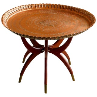 Spider Leg Table with Copper Tray Top
