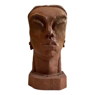 Wood Carved Tribal Bust For Sale