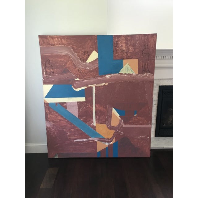 Mid Century Modern Large Original Abstract Oil Painting on Canvas For Sale - Image 4 of 11