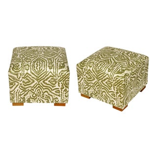 Green Custom Fabric Stools - A Pair For Sale
