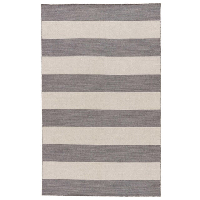 Jaipur Living Tierra Handmade Striped Gray/ White Area Rug - 8′ × 10′ For Sale