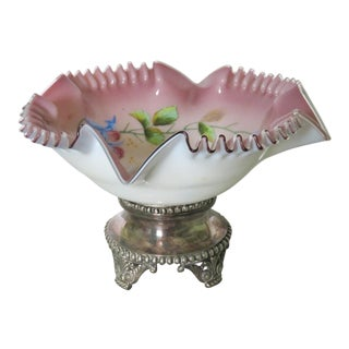 Victorian Silverplate Enameled Center Bowl For Sale