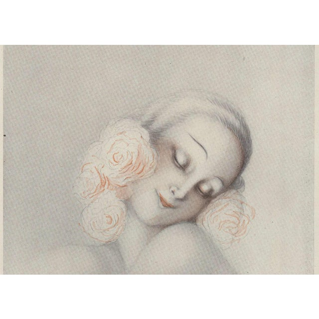 Art Deco Matted Art Deco Sensual, Romantic Print of Nude Woman For Sale - Image 3 of 5