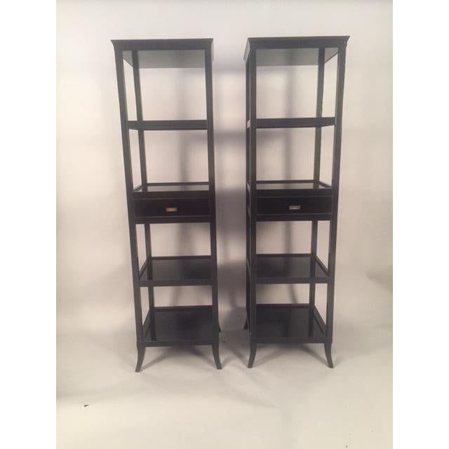 "Beautiful customer made Contemporary pair of five tier wood black Etagere shelves lacquered with glossy finish. 19""x 19"" x..."