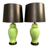 Image of Mid-Century Green Porcelain Table Lamps - a Pair For Sale