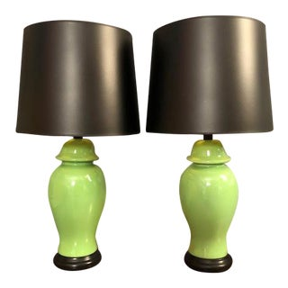 Mid-Century Green Porcelain Table Lamps - a Pair