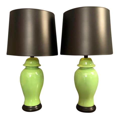 Mid Century Green Porcelain Table Lamps   A Pair