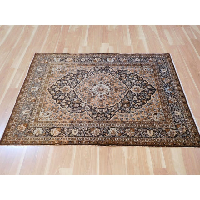 """Antique Persian Tabriz Rug - 4' x 5'4"""" For Sale - Image 5 of 6"""