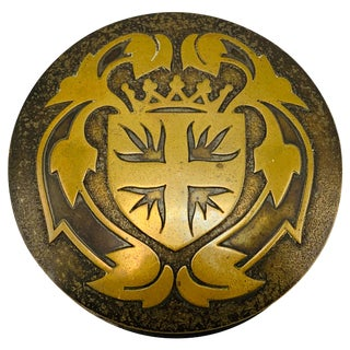 1950s French Brass Shielded Crest Coasters and Box, Set of 5 For Sale