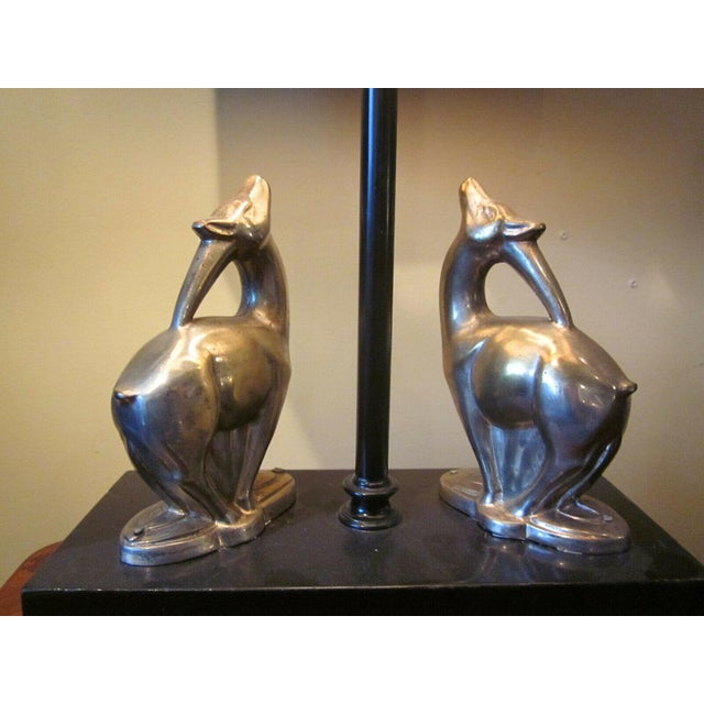 1920s Vintage 1920s Art Deco Black and Chrome Figural Table Lamp Gazelles Antelope Chrome Animal Figures With Geometric Black Base and Shade For Sale In Chicago - Image 6 of 9