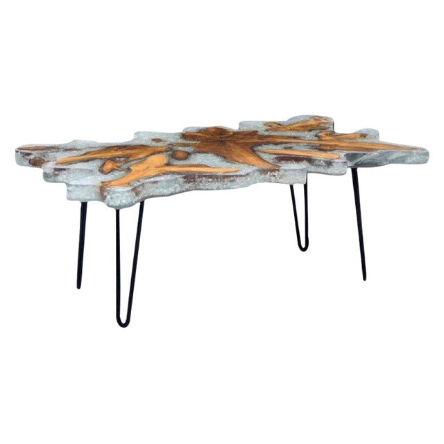 Reclaimed Teak Lucite & Glass Coffee Table - Image 1 of 3