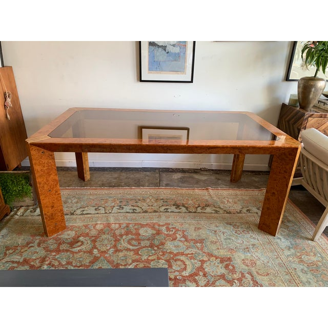 1970s Vintage Burlwood and Glass Dining Table For Sale - Image 13 of 13