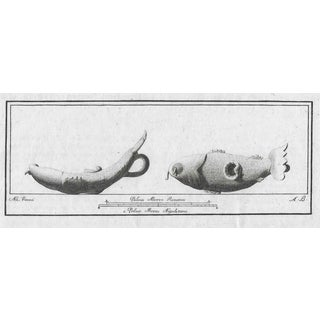 Antique Roman Engraving of a Fish Lamp For Sale