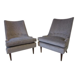 Mid-Century Gray Upholstered Slipper Chairs - a Pair For Sale