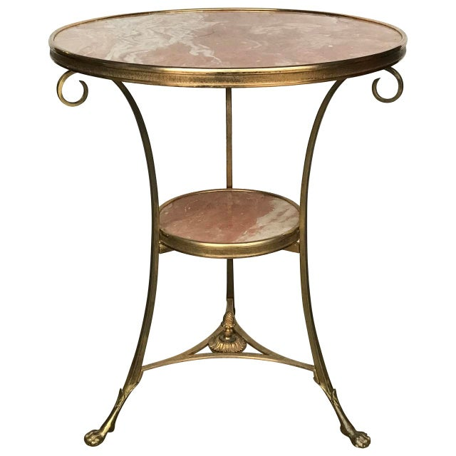 Metal 20th Century French Marble and Ormolu Neoclassical Gueridon For Sale - Image 7 of 7