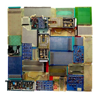"""Big View Of Mid 20th TV Artifacts Component Art """"659-C"""" Wall Sculpture For Sale"""