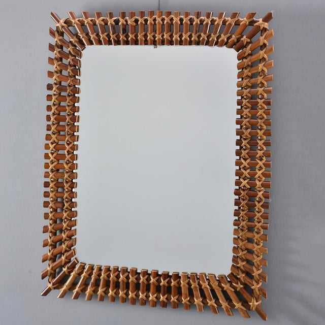 Wood Mid-Century Rectangular Bamboo Framed Mirror For Sale - Image 7 of 10