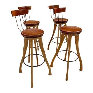 Vintage Custom Rustic Modern Swivel Bar Stools - Set of 4 For Sale