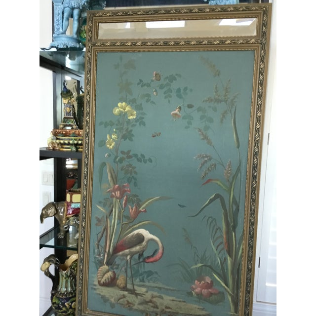 Antique Hand Painted Stork on Canvas Mirror - Image 5 of 5