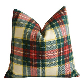 "Scottish Tartan Plaid Wool & Velvet Feather/Down Pillow 24"" Square For Sale"