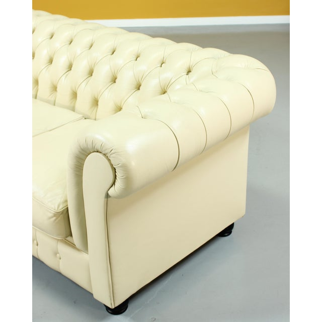 1960s Vintage Beige Leather Chesterfield Sofa For Sale - Image 5 of 8