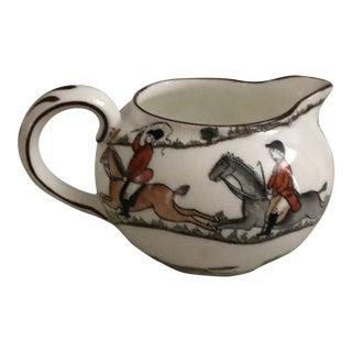 1940s Crown Staffordshire Creamer With Hand-Painted Hunting Scenes For Sale