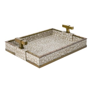 Small T Handle Tray in Beige / Brass - Steven Gambrel for The Lacquer Company For Sale