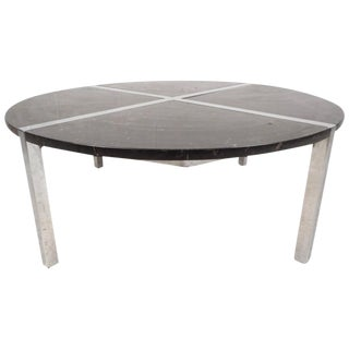 Mid-Century Modern Chrome and Marble Top Coffee Table