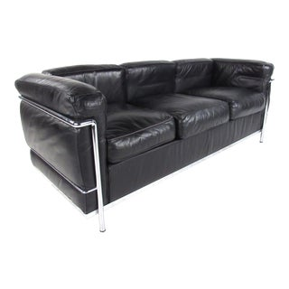 Le Corbusier Lc Leather and Chrome Living Room Set for Cassina For Sale
