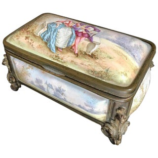 19th Century Antique French Polychrome Enamel and Bronze Jewelry Box Casket For Sale