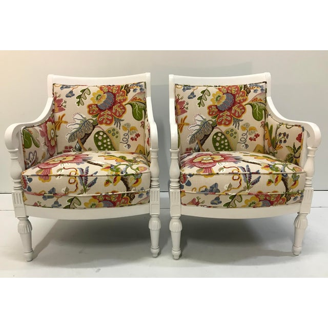 20th Century Pair Chairs Floral Pattern Cottage Style Painted Frames For Sale - Image 9 of 9