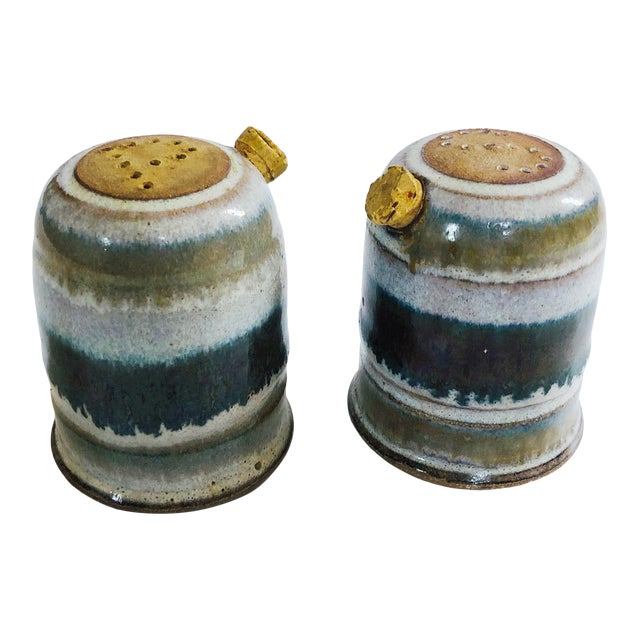 Vintage Mid-Century Stoneware Studio Pottery Salt and Pepper Shakers - a Pair For Sale