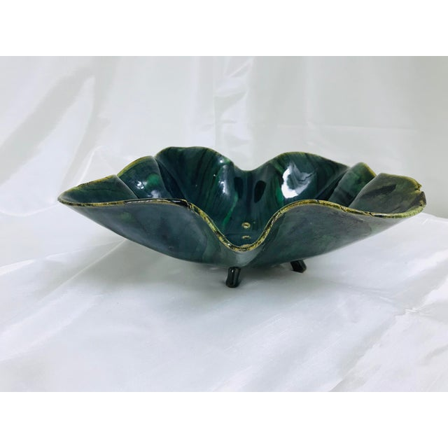 1970s Glazed Green Footed Berry Pottery Bowl For Sale - Image 5 of 12
