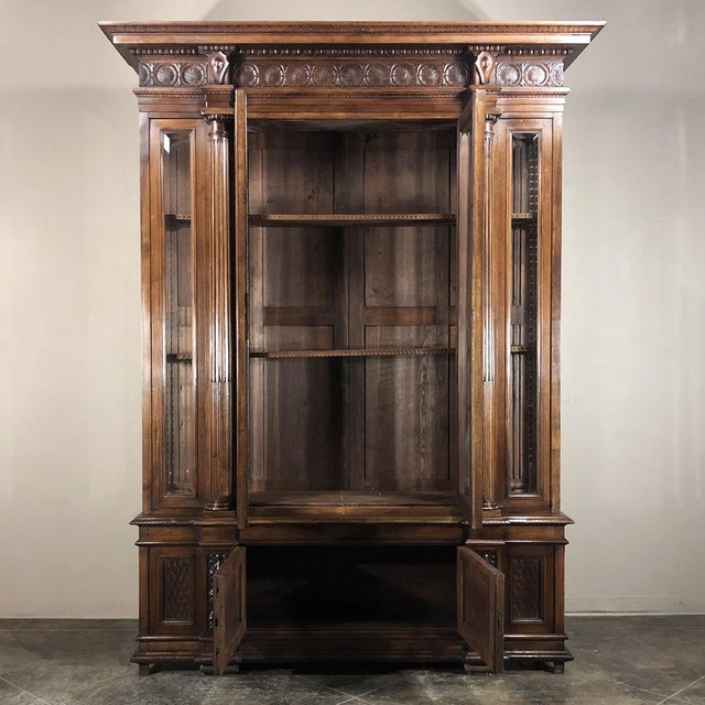 Grand 19th Century Italian Walnut Neoclassical Bookcase For Sale - Image 4 of 13