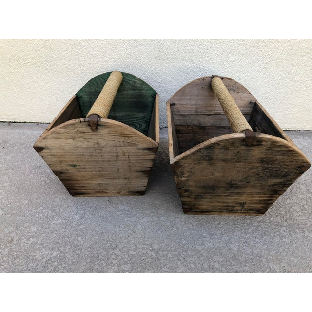 Early 20th Century Early 20th Century Antique Wooden Storage Containers - A Pair For Sale - Image 5 of 5