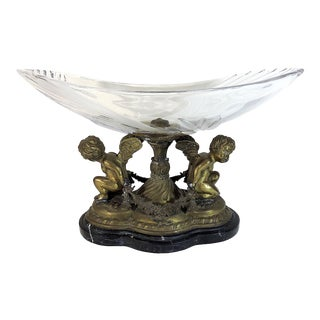 Vintage Italian Black Marble and Glass Centre Bowl, Tazza With Winged Cherubs For Sale
