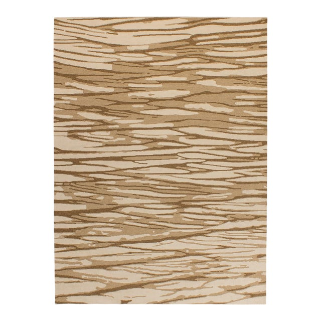 Solo Rugs Grit and Ground Collection Contemporary Arbol Hand-Knotted Flatweave Area Rug, Brown, 6' X 9' For Sale
