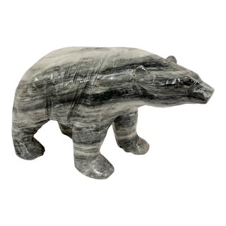 Contemporary Carved Marble Large Bear Sculpture For Sale