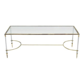 Mid-Century Modern Glass Chrome and Brass Rectangle Coffee Table For Sale