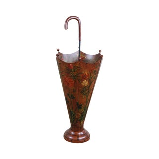 Umbrella - Shaped Umbrella Stand, Faux Wood Grain Over Iron, Hand Painted Flowers For Sale