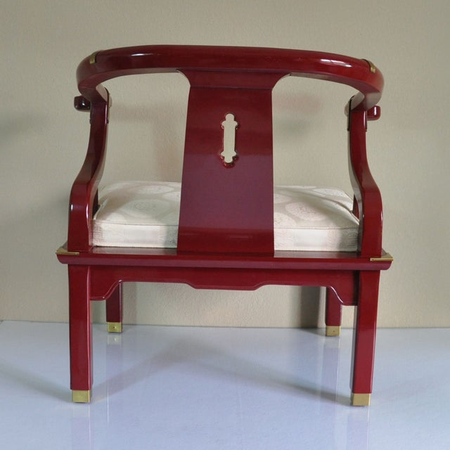 Century Red Lacquer Ming Chair - Image 4 of 8
