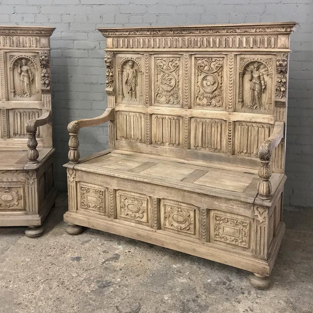 Pair 19th Century Italian Stripped Oak Hall Benches For Sale - Image 4 of 13